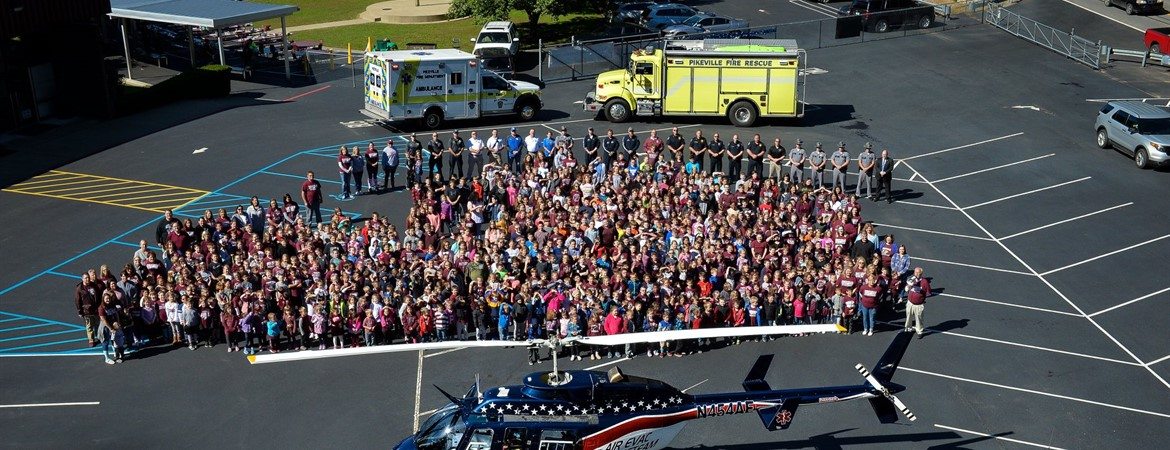 Pikeville Elementary students joined by KSP, Pikeville Police, Fire and Rescue and AirEvac helicopter rescue team.